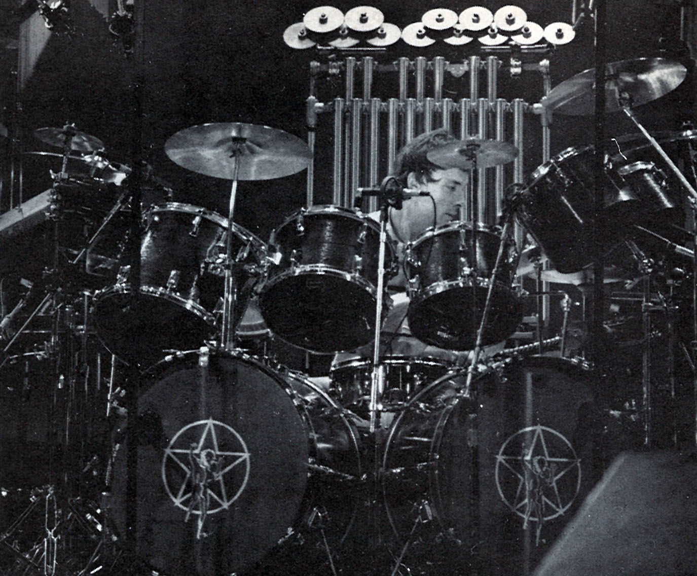 Neil Peart Moving Pictures Drums And White Diagram Of A Drum Set Including Cymbals High Hat Snare From Modern Drummer 1984