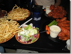 Duff's fries, salad, and (famous) wings