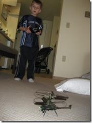Cam flies the indoor helicopter